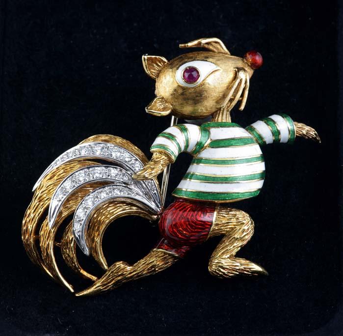 Broš vjeverica od 18kt žutog zlata